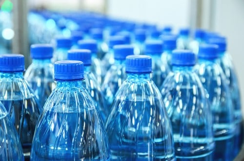bottled water at a factory